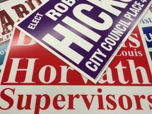 Political sign, campaign signs, yard signs, plastic signs, screen printing, screen printed signs