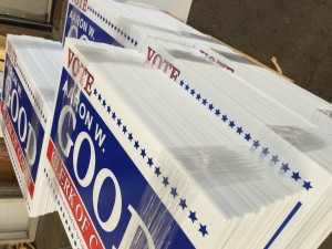 Plastic signs, corro signs, corrugated signs, screen printed, yard signs, political signs, campaign signs